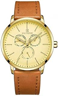 NAVIFORCE 3001 Men's Sports Leather Wrist Analog Quartz Watch - Gold