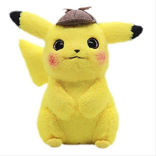 DINGX Pokemon niedlich Pikachu plüschtiere 28 cm gefüllte weiche detektive Pikachu Japan Film Anime Puppen für Kinder Kinder Baby Geburtstag Weihnachten Geschenke Pikachu plüsch Chuangze