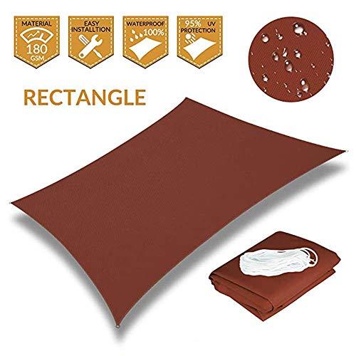 Jardin Sun Shade Sail Respirant Imperméable Polyester Écran Solaire Auvent Auvent pour Patio Extérieur Cour UV Block - Rectangle, 2X3M, Rust Red Canvas