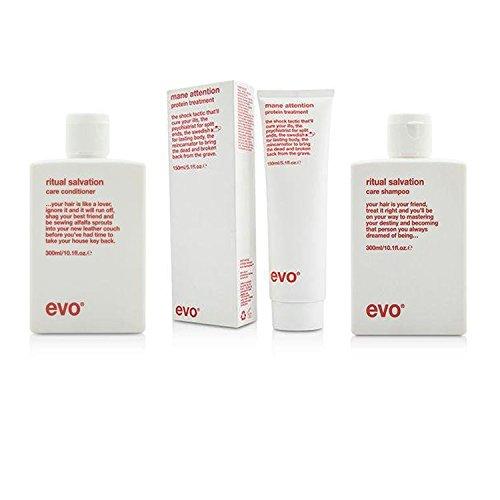 Evo Bundle 3 éléments Evo Rituel du Salut Duo, Shampoing et après-shampoing 286,3 gram et crinière Attention Protéine Traitement de cheveux, 144,6 gram