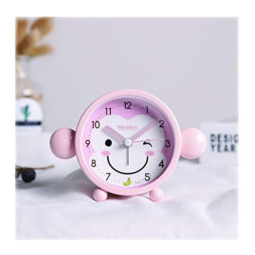 zxb-shop Reloj de Escritorio 3 Pulgadas Reloj/Dormitorio la decoración del Reloj/silencioso, Simple/Mono Forma Despertador/Material Metal, Anti-caída/Alta Despertador Reloj de Mesa (Color : Pink)