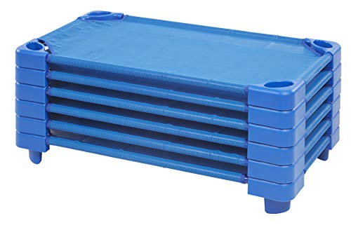 """ECR4Kids-ELR-16114 Toddler Naptime Cot, Stackable Daycare Sleeping Cot for Kids, 40"""" L x 23"""" W, Ready-to-Assemble, Blue (Set of 6)"""