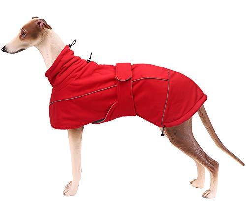 Brabtod Windhund Hundejacke Fleece Hund Kaltes Wetter Mäntel mit Geschirrloch, Hundemantel Outdoor Kleidung für Große Hunde - Rot-S