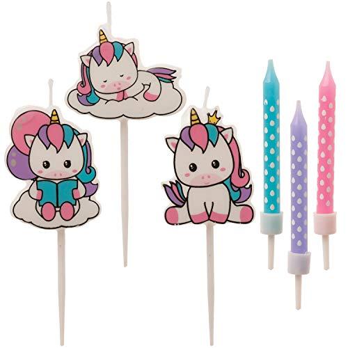 Dekora - Set de Velas de Cumpleaños de Unicornio para Decorar la Tarta de Cumpleaños más Cuqui - 6 Velas, 345408