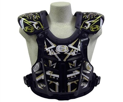 HRP Flak Jak IMS RC Motocross Chest Protector Black Silver Gold Roost Deflector (Adult Medium (125-145 lbs)