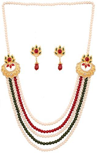 Touchstone Überzogene indische Bollywood Bunte Seite Verschluss Saree Exklusive Schmuck Halskette für Damen Mehrfarbig