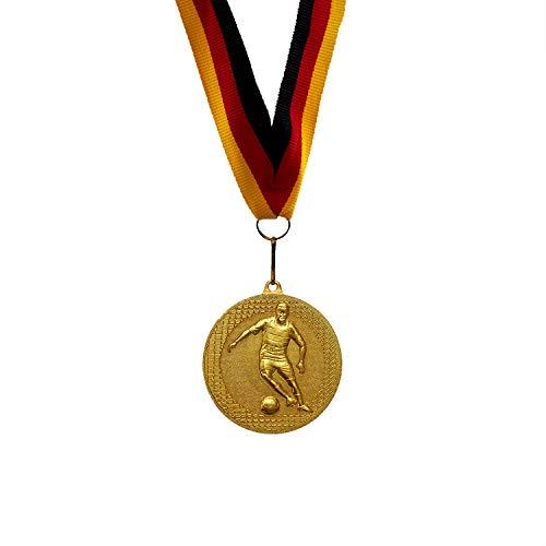 Pokale Fischer Medaille Fußball – 5 Stück Medaillen als Mitgebsel für Kinderparty - Spiele und Geburtstag Goldmedaillen mit Band aus Metall