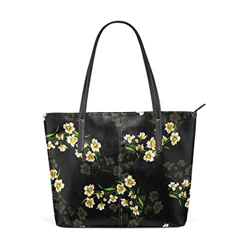 XGBags Custom Borsa a tracolla in pelle PU da donna Yellow Flowers Pattern Womens Purse PU Leather Shoulder Tote Bag