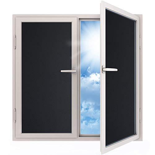 havalime Fensterfolie Blickdicht Sichtschutzfolie selbstklebend Verdunkelungsfolie Fenster Klebefolie statische Folie dunkel für Schlafzimmer Badezimmer Anti-UV Schwarz (200 x 45 cm)