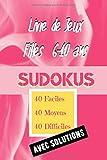 Livre de Jeux Filles 6-10 ans Sudokus Faciles Moyens Difficiles: 120 Sudokus  de Difficulté Progressive Avec 1 Jeux par Page et toutes les Solutions. Premier Niveau Extrêmement Facile.
