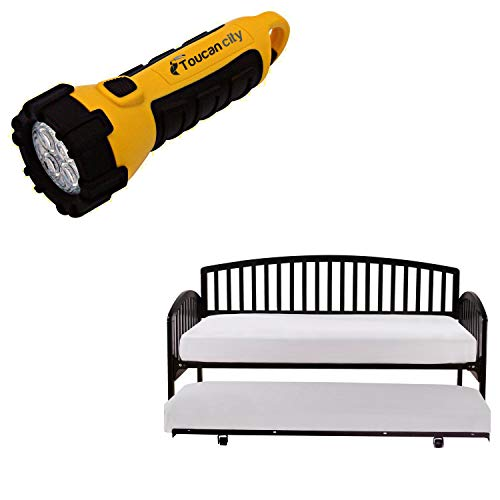 Toucan City LED Flashlight and Hillsdale Furniture Carolina Black Daybed with Suspension Deck and Roll-Out Trundle 1592DBLHTR