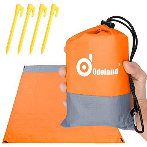 Odoland Picknickdecke Stranddecke Wasserdicht 200 * 140 cm mit 4 Heringen Ideal für den Park Wandern Reise und Camping Orange