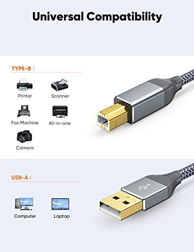 Snowkids Cable Impresora USB 2.0, Cable USB Impresora 2m Tipo A Macho a B Macho Alta Velocidad, Cable USB 2.0 Nylon Cable Escáner Impresora para HP, Canon, Epson, DELL, Brother, Lexmark, ECC