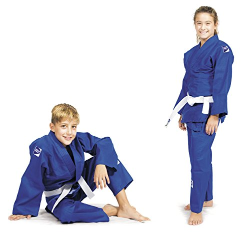 GREEN HILL JUDOGI Junior 300 g/m2 Judo GI Uniforme Blanco Azul Kimono Traje JU Jitsu Unisex (Azul, 130)