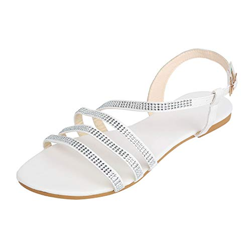 Damen Sandalen Riemchensandale mit Strass Bequeme Flache Beach Strandsandale Slingback Peep Toe Sommer Outdoor Sandals Freizeitschuhe(1-Silber/Silver,38)