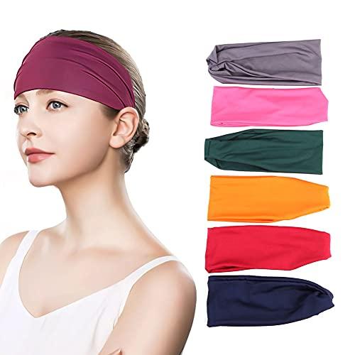 Fascia per capelli da donna, 6 pezzi, elasticizzata, per lo sport, da 9,5 pollici, per allenamento sportivo, per uomo e donna, per ciclismo, allenamento, yoga, corsa
