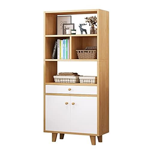 HBCELY Librería rústica de 5 Niveles Gabinete de estantería Abierta con Puertas Dobles Organizador de Almacenamiento de pie con cajones para el Dormitorio de la Sala de Estar de la Oficina en casa