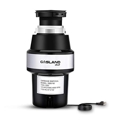 GASLAND Chef GD511B 1/2 HP Garbage Disposal with Power Cord Universal Garbage Disposer Continuous Feed Quiet Food Waste Disposer 4000 RPM Stainless Steel Flange and Grind System Black