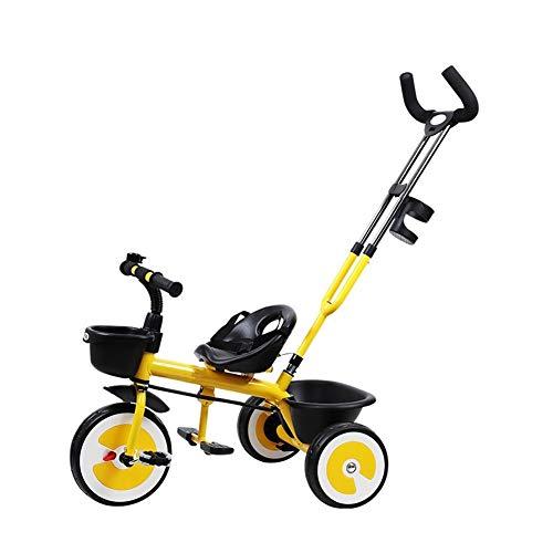 WENJIE Cochecito De Bebé 1-3-6 Años Bicicleta Ligero Cochecito De Bebé Triciclo Infantil Cinturón De Seguridad Portavasos Coche De Juguete (Color : Yellow)
