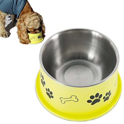 PETish Spaniel Bowl for Long Ear Dog - Ergonomic Personalized Custom Design Bowls, NO Tip Stainless Dish (Medium ( 17oz - 6.3 x 5.3 x 3.0inch ), Banana Yellow)
