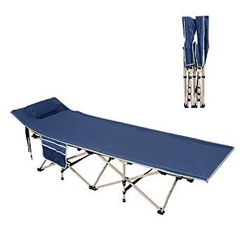 sogesfurniture Lit de Camp Pliable Lit Pliant pour Camping et Jardin, avec Structure en Acier, Charge Max 150kg, 190x67x34cm, Bleu Marin BHEU-CT-Y10-NY