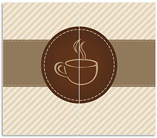 Wallario Herdabdeckplatte/Spritzschutz aus Glas, 2-teilig, 60x52cm, für Ceran- und Induktionsherde, Kaffee-Menü - Logo Symbol für Kaffee
