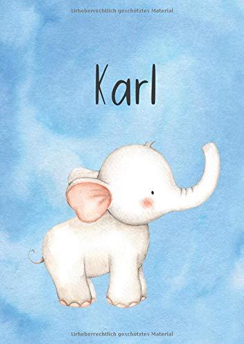 Karl: DIN A4 • Blanko 100 Seiten • Personalisiertes Malbuch • Kalender mit Name • Großer Malblock • Vornamen Notizbuch • Notizblock Blau • Hellblau Kinderbuch • Jugendbuch • Namensbuch