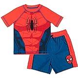 Marvel Avengers Spider-Man Toddler Boys Swim Rash Guard Swim Trunks Set Red/Blue 5T