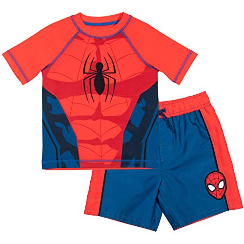 Marvel Avengers Spiderman Toddler Boys Costume Rash Guard Swim Trunks Set Red/Blue 5T