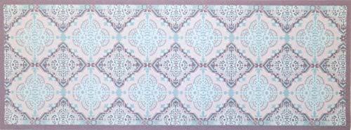 Felpudo oKu-Tex | Felpudo | Felpudo | Diseño Retro | Decostyle | Felpudo para Puerta Interior | Antideslizante, Gris/Azul Claro | 45 x 120 cm