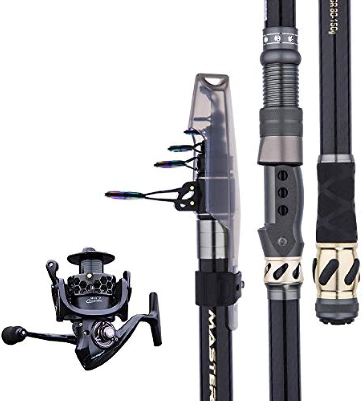 YUSHRO Teleskopkder Angelrute, Kohlefaser Klappbarer Führungsring Sehr Schwierig Seefischerei Pole Mit Spinnrolle