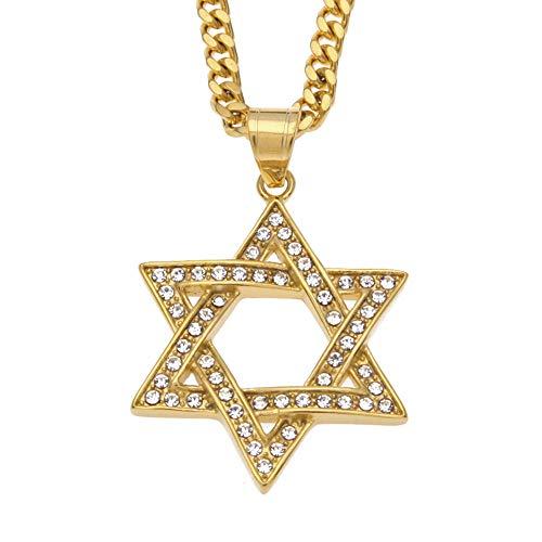 J.Memi.Men Hombres Acero Inoxidable Collar Estrella De David Diamantes De Imitación Pendientes Joyas Navidad Cumpleaños Regalo,Oro