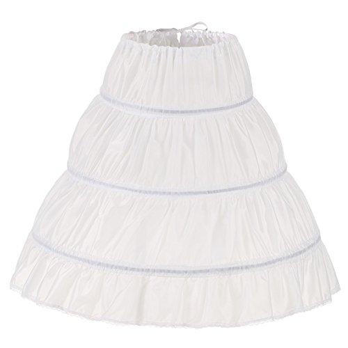 """Noriviiq Kinder Reifrock A Linie 3 Ringe Petticoat Unterrock Mädchen Lang Prinzessin Kleid Halb Slip (Weiß, 45cm/17.7\"""")"""