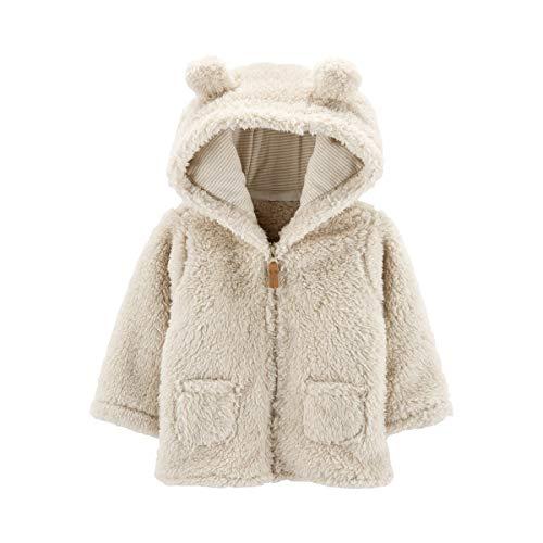 Carter's Zip-Up Sherpa Cardigan Jacket, Oatmeal Sherpa, 9 Months
