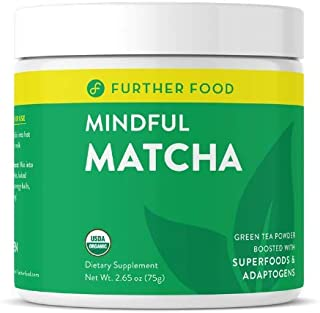 Further Food Matcha: USDA Organic Matcha Green Tea Powder Boosted with 4 Superfoods for Energy & Detox (30 servings)