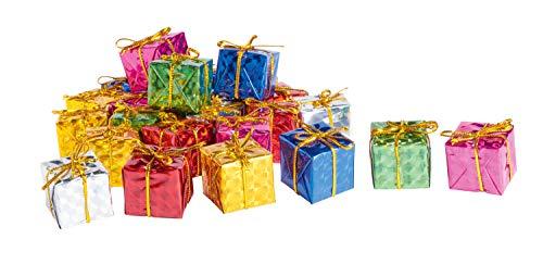 24 Deko Geschenkpäckchen 24x24x22mm bunt mit Schleife Weihnachten Dekoration Christbaum Tannenbaum Schmuck