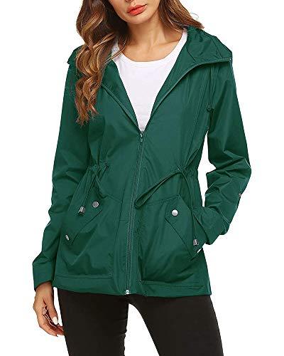 Imily Bela - Chaqueta de lluvia para mujer, resistente al agua, con capucha, ligera, chaqueta de verano, chubasquero, cortavientos, parka, para exteriores, deporte verde S