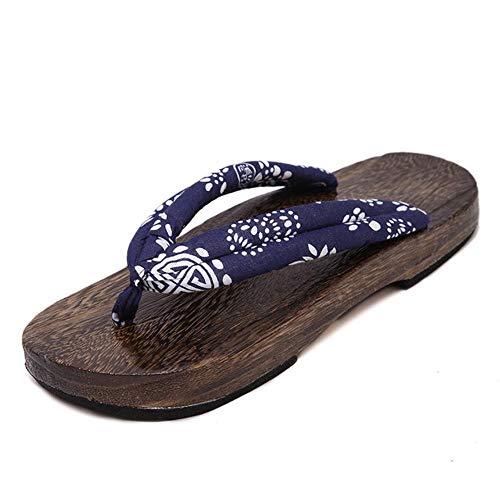 SELLM Man Wooden Outdoor Slippers Beach Wear Flip Flops Japanese Traditional Clogs Geta Kimono Samurai Cosplay Paulownia Shoes Flats,Color2,10
