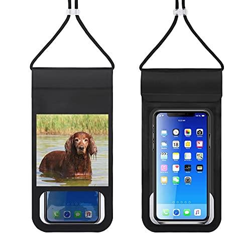 Paquete de teléfono móvil impermeable Bolsa seca del teléfono celular con cordón caso del teléfono de natación al aire libre bolsa de teléfono Cocker Spaniel Dog River