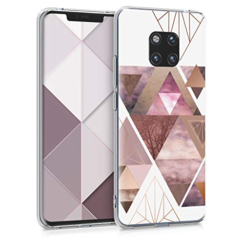 kwmobile Huawei Mate 20 Pro Hülle - Handyhülle für Huawei Mate 20 Pro - Handy Case in Glory Dreieck Muster Design Rosa Rosegold Weiß