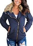 Vetinee Women Casual Faux Fur Lapel Zip Pockets Quilted Parka Jacket Puffer Coat Navy Blue Medium (Fits US 8-US 10)