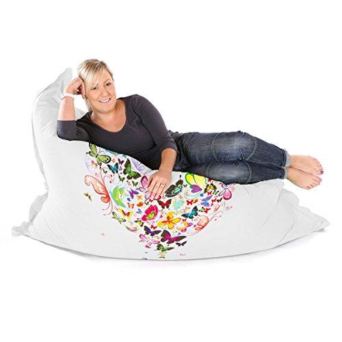 rucomfybeanbags Schmetterling Love Soft Squarbie Sitzsack Erwachsene Sitzsack–Weiß–Giant–170cm x 130cm