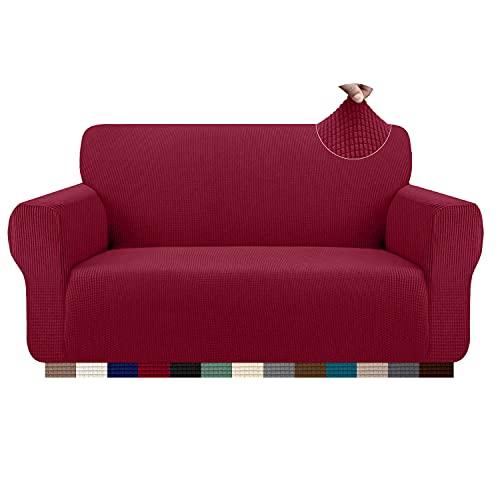 Granbest Funda de sofá elástica de 3 plazas - Elegante funda de sofá para gatos, perros, fundas de muebles, tela de jacquard lavable [Vino - 2 plazas]