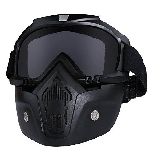 GGBuy Bullet Fight Motocross Masque amovible anti-brouillard de casque de moto chaud avec filtre de bouche r&eacute glable et sangle antid&eacute rapante vintage noir