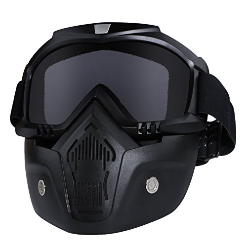 Motorcycle Helmet Riding Goggles Glasses With Removable Face Mask,Detachable Fog-proof Warm Goggles Mouth Filter Adjustable Non-slip Strap Vintage Bullet Fight Motocross (black)