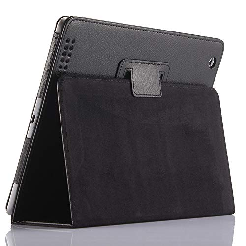 iPad 2 3 4 Smart Case,FANSONG Bifold Series Litchi Stria Ultra Thin Magnetic PU Leather Smart Cover [Flip Stand,Sleep Function] for Apple iPad 2/3/4, Black