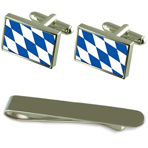 Select Gifts Freistaat Bayern Fahne Silber Manschettenknöpfe Krawatten Geschenkset mit Gravur