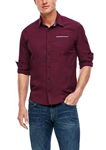 s.Oliver Herren Regular: Hemd aus Baumwoll-Popeline dark blue check L