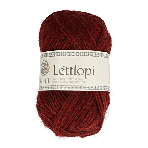 theofeel Lettlopi Wolle 9431 dunkel rot, Islandwolle zum Stricken von Islandpullovern, Norwegermuster