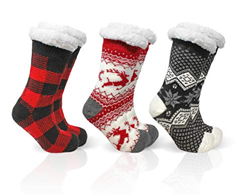 B&CO Apparel Cozies  (3) Pairs of Women s Winter Knit Thick Sherpa Cozy Thermal Fuzzy Slipper Socks With Anti-Skid